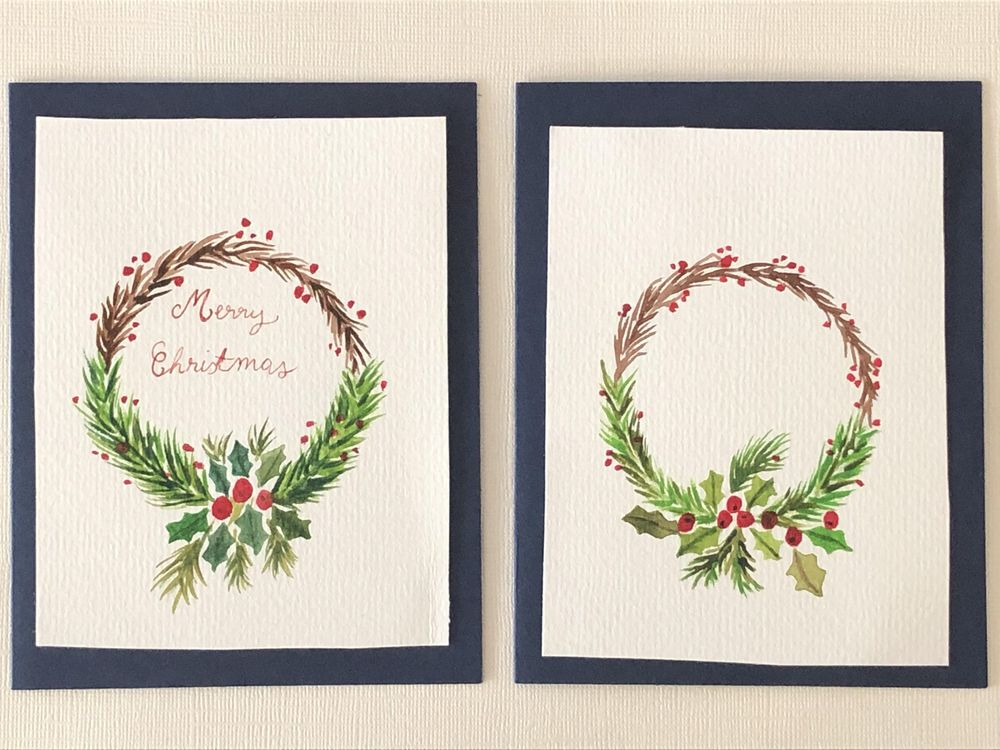 Christmas wreath cards - image 1 - student project