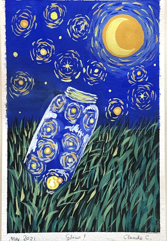 Van Gogh's Starry Night inspired Fireflies Jar - image 1 - student project
