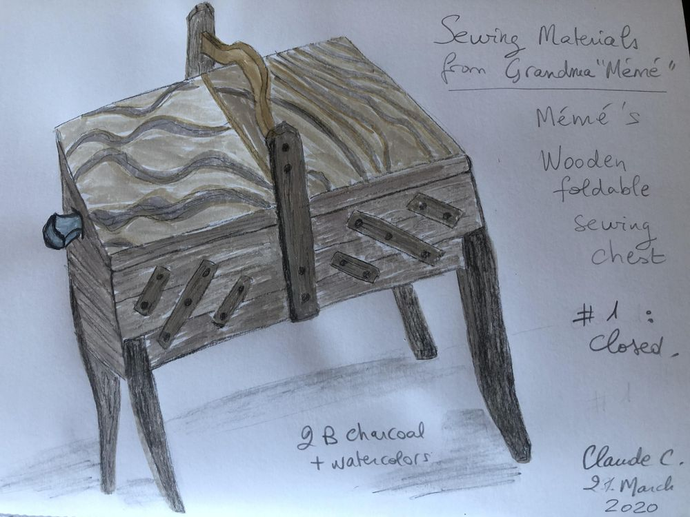 Grandma's Wooden Foldable Sewing Chest - image 2 - student project