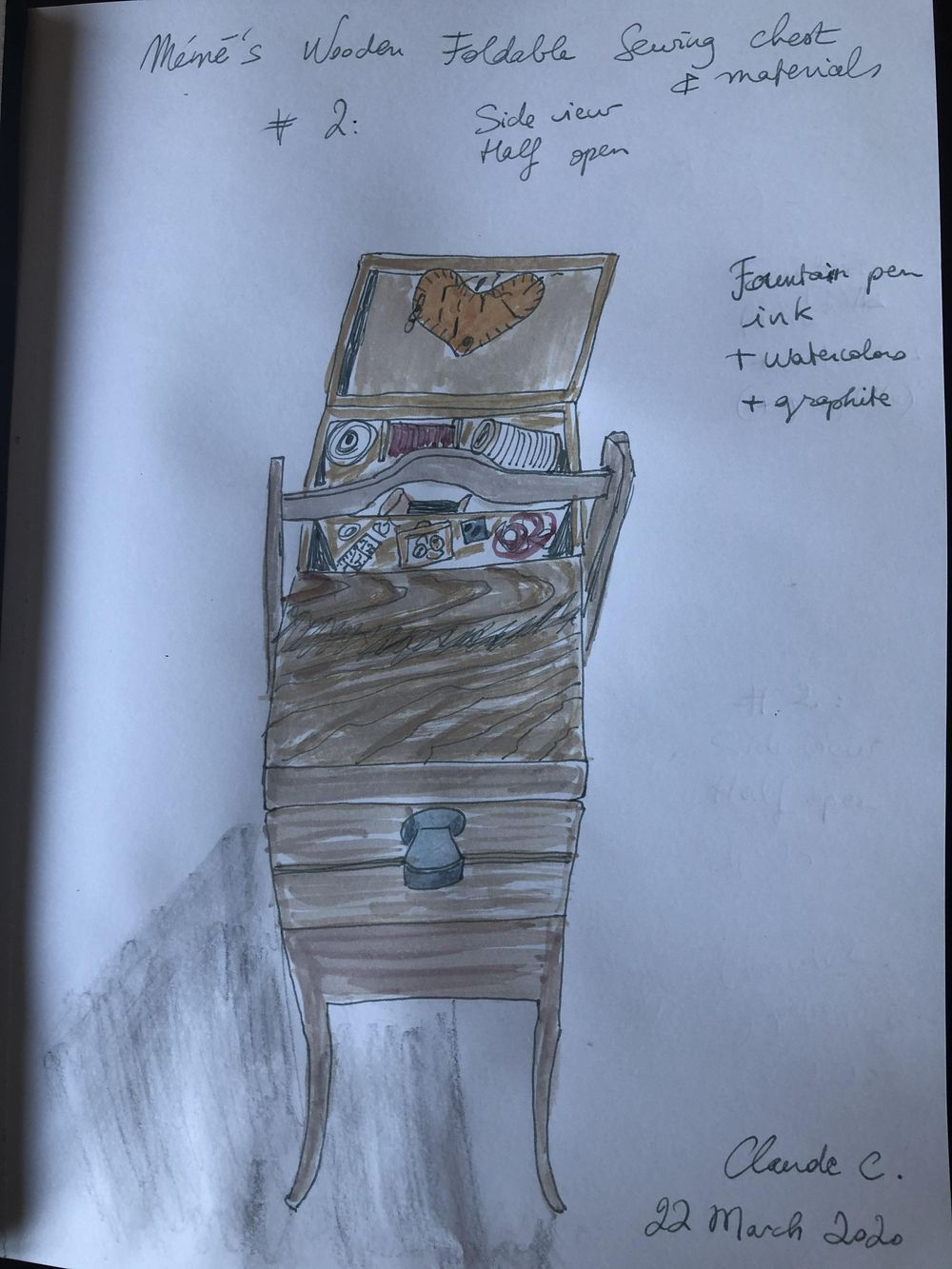 Grandma's Wooden Foldable Sewing Chest - image 3 - student project