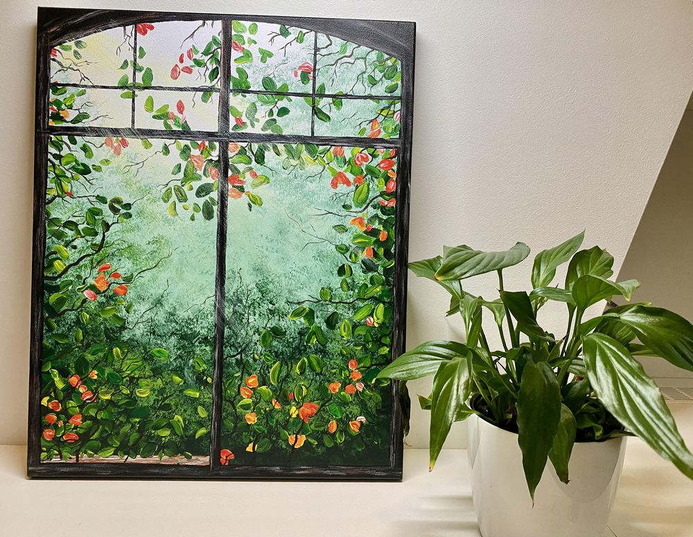 Window painting with greenery - image 1 - student project