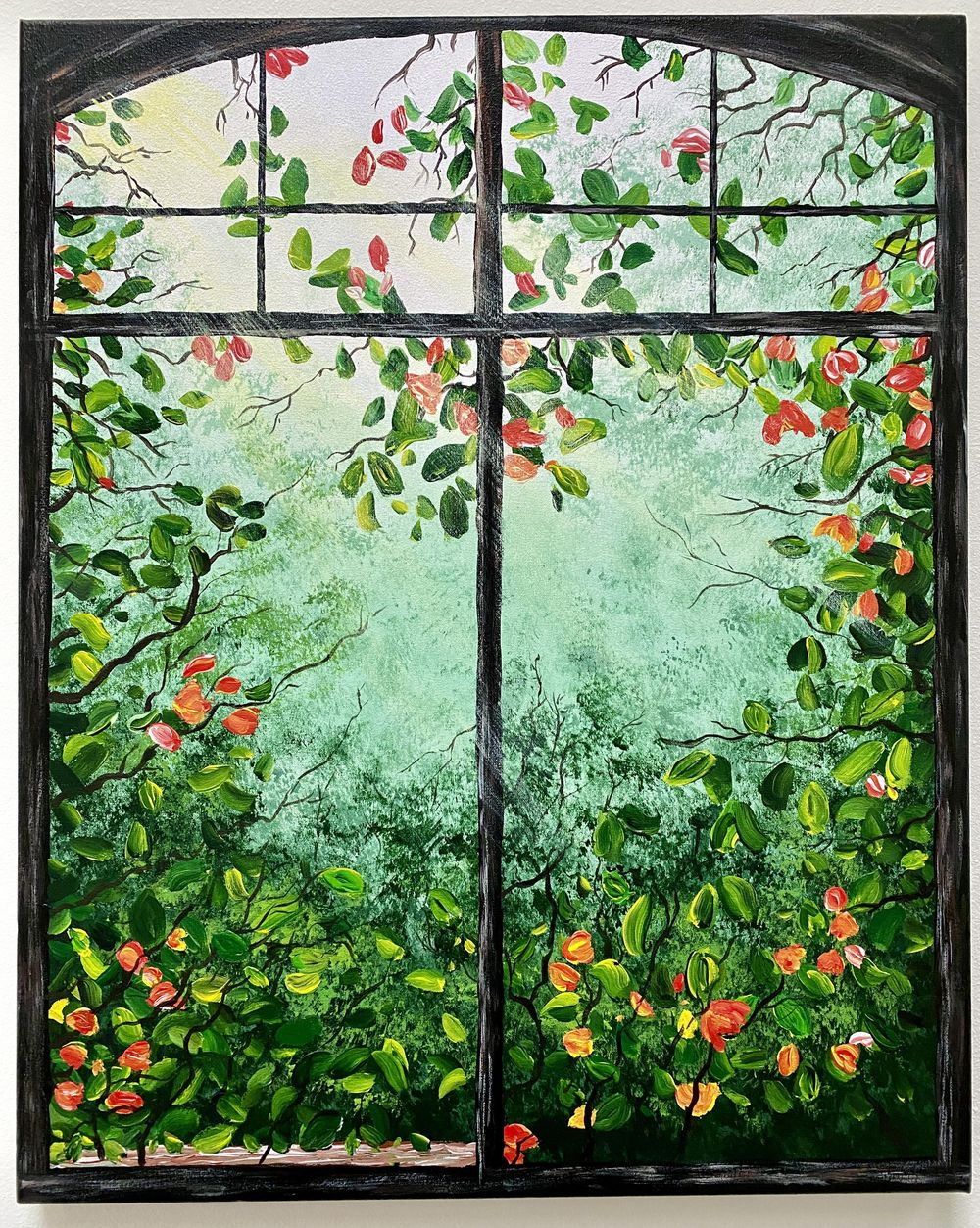 Window painting with greenery - image 2 - student project