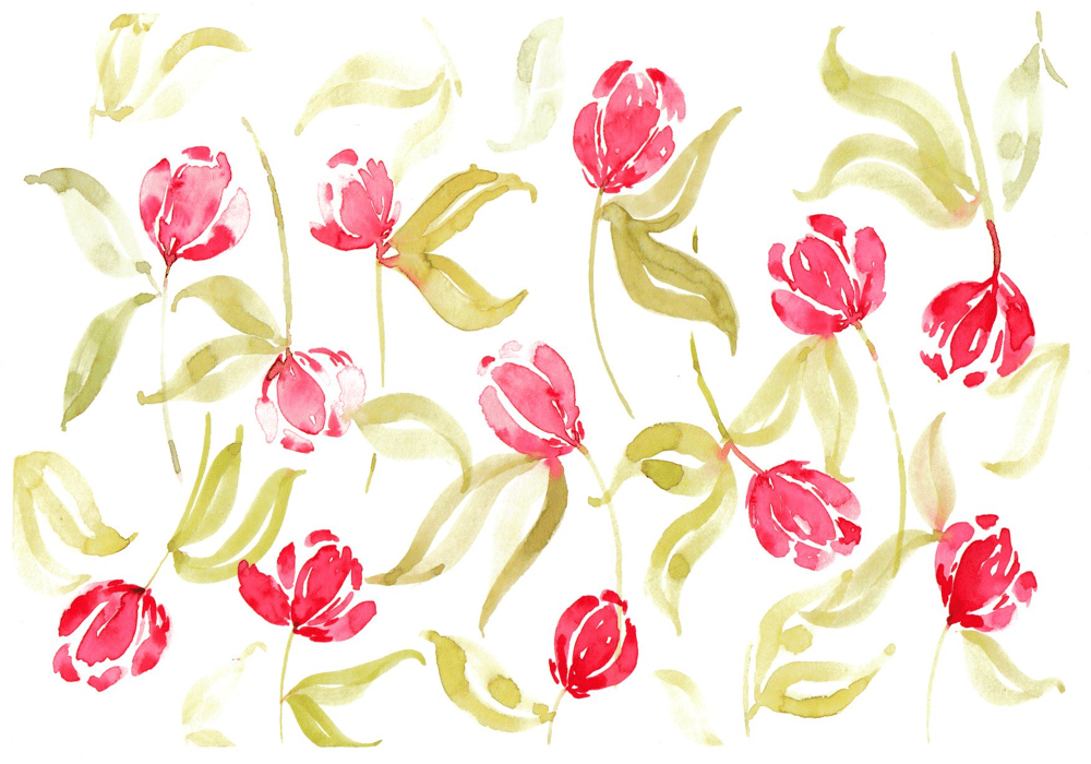Tulips Pattern with Watercolors - image 1 - student project