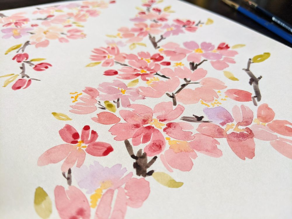 Watercolor Cherry Blossoms - image 2 - student project