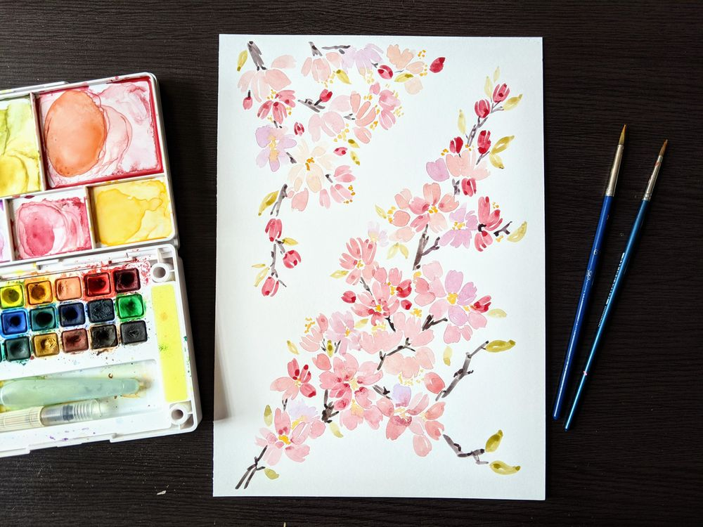 Watercolor Cherry Blossoms - image 3 - student project