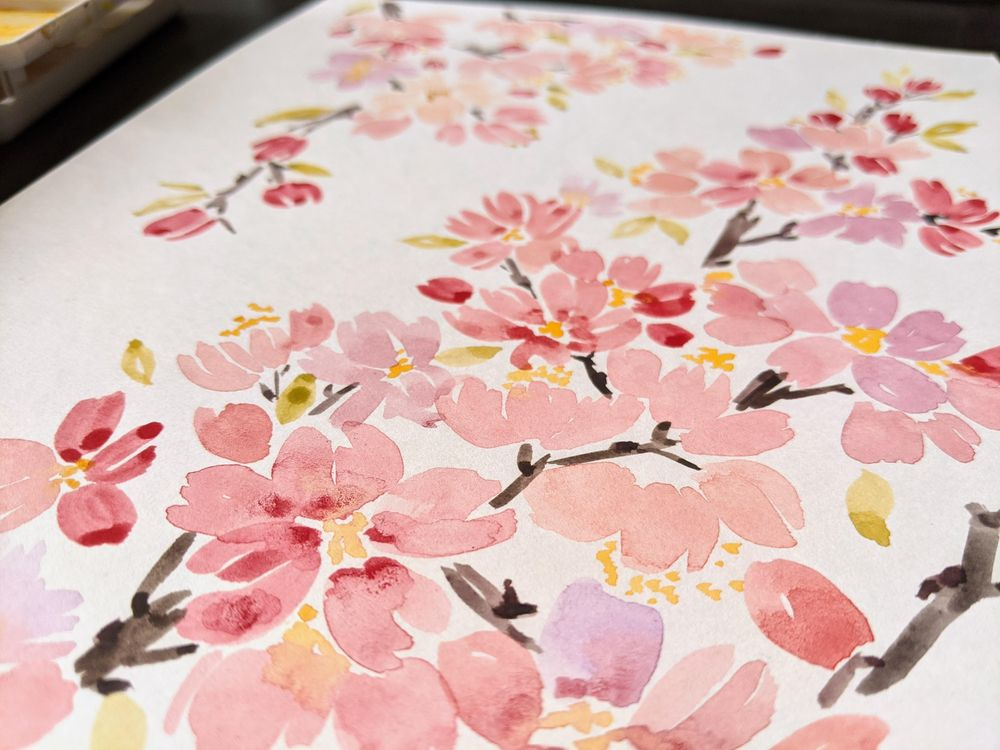 Watercolor Cherry Blossoms - image 1 - student project