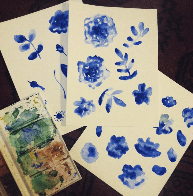 Blue & White Porcelain Roses - image 2 - student project