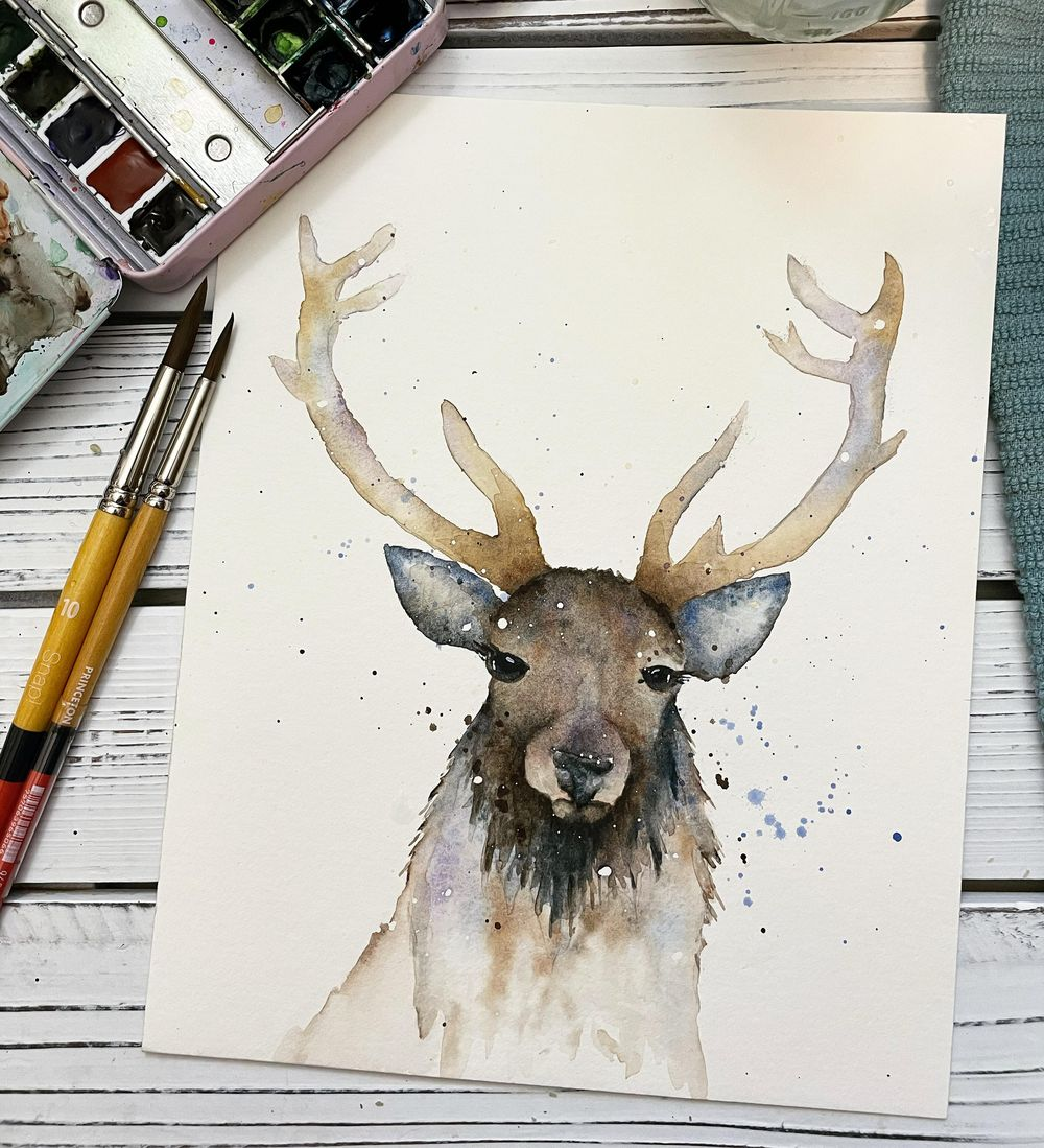 Stag Watercolor Painting - image 1 - student project