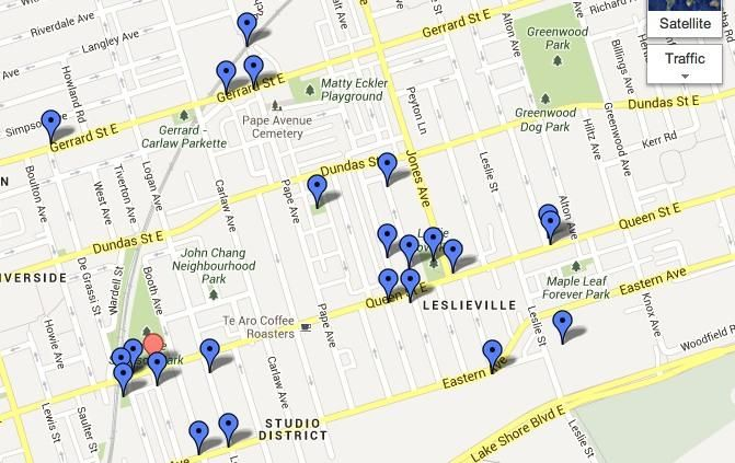 Leslieville Curiosities - a treasure map of hidden neighbourhood gems    - image 1 - student project