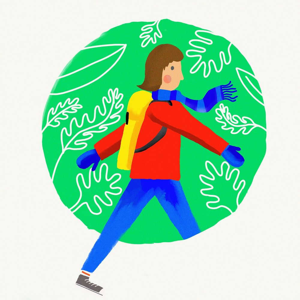 Procreate - Lady walking in the woods - image 1 - student project