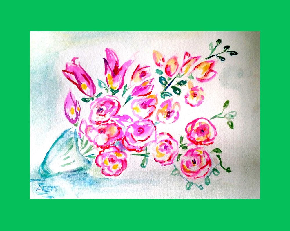 Whimsical Watercolor Florals - image 2 - student project