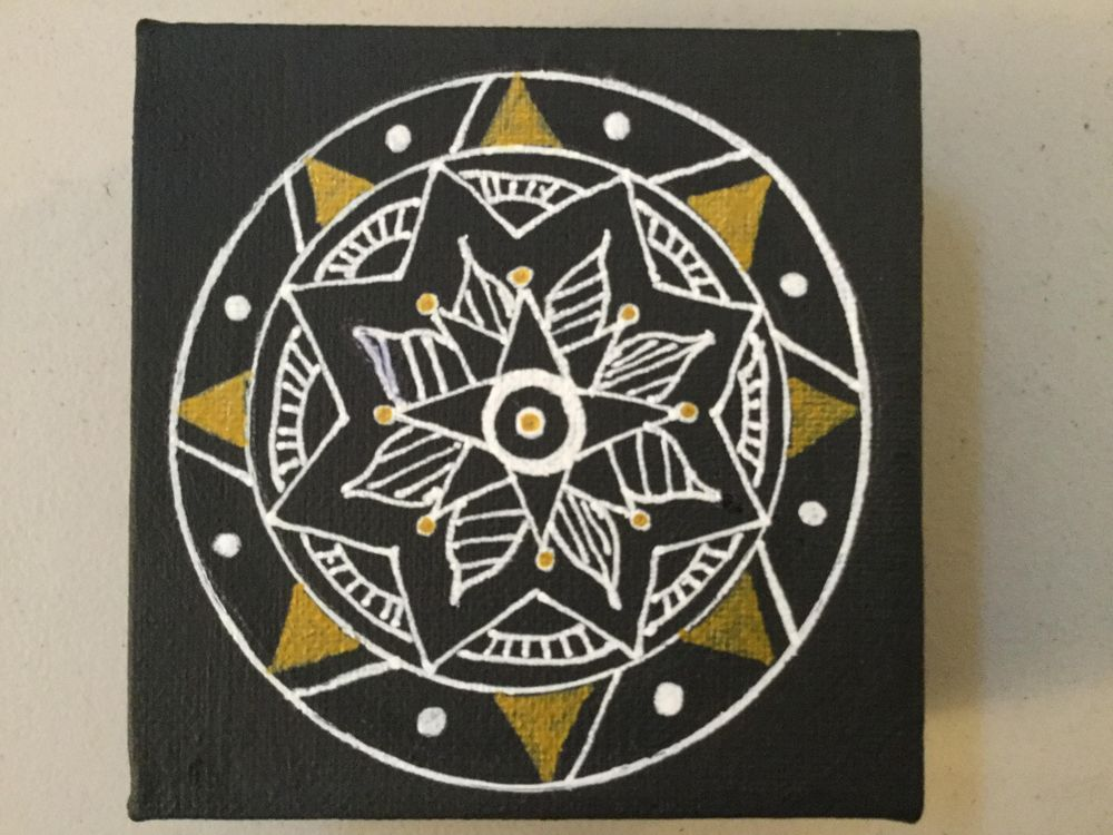 Gold and White Mandala on Canvas - image 1 - student project