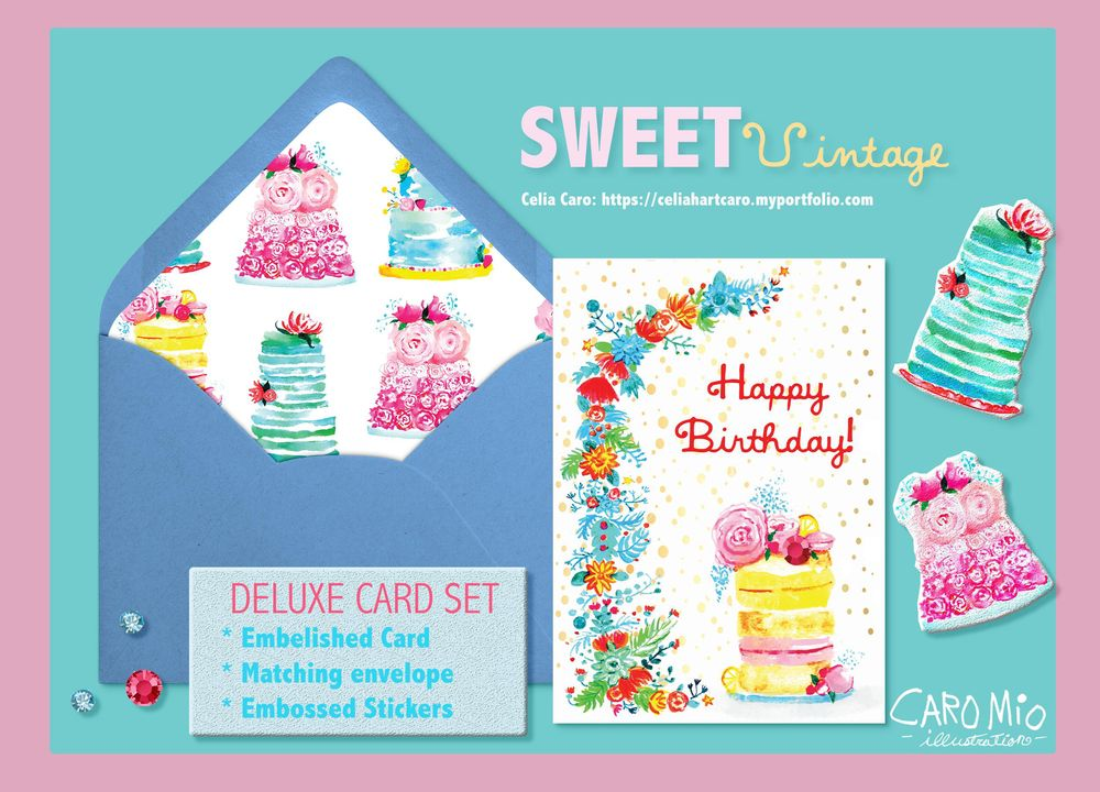 Sweet Vintage Birthday Cake Cards - image 1 - student project