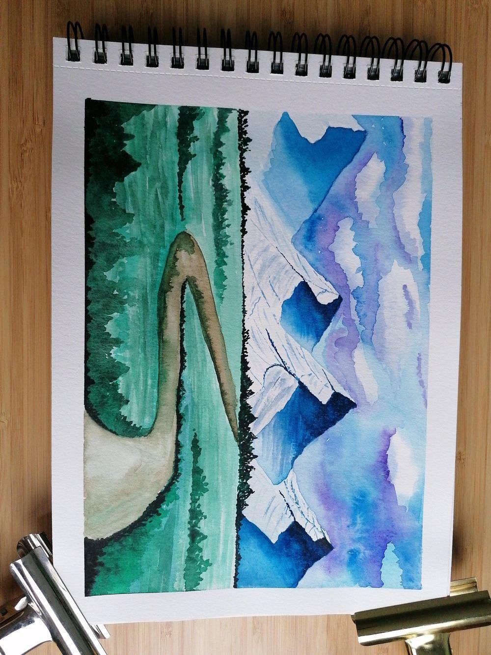 Watercolor landscape - image 6 - student project