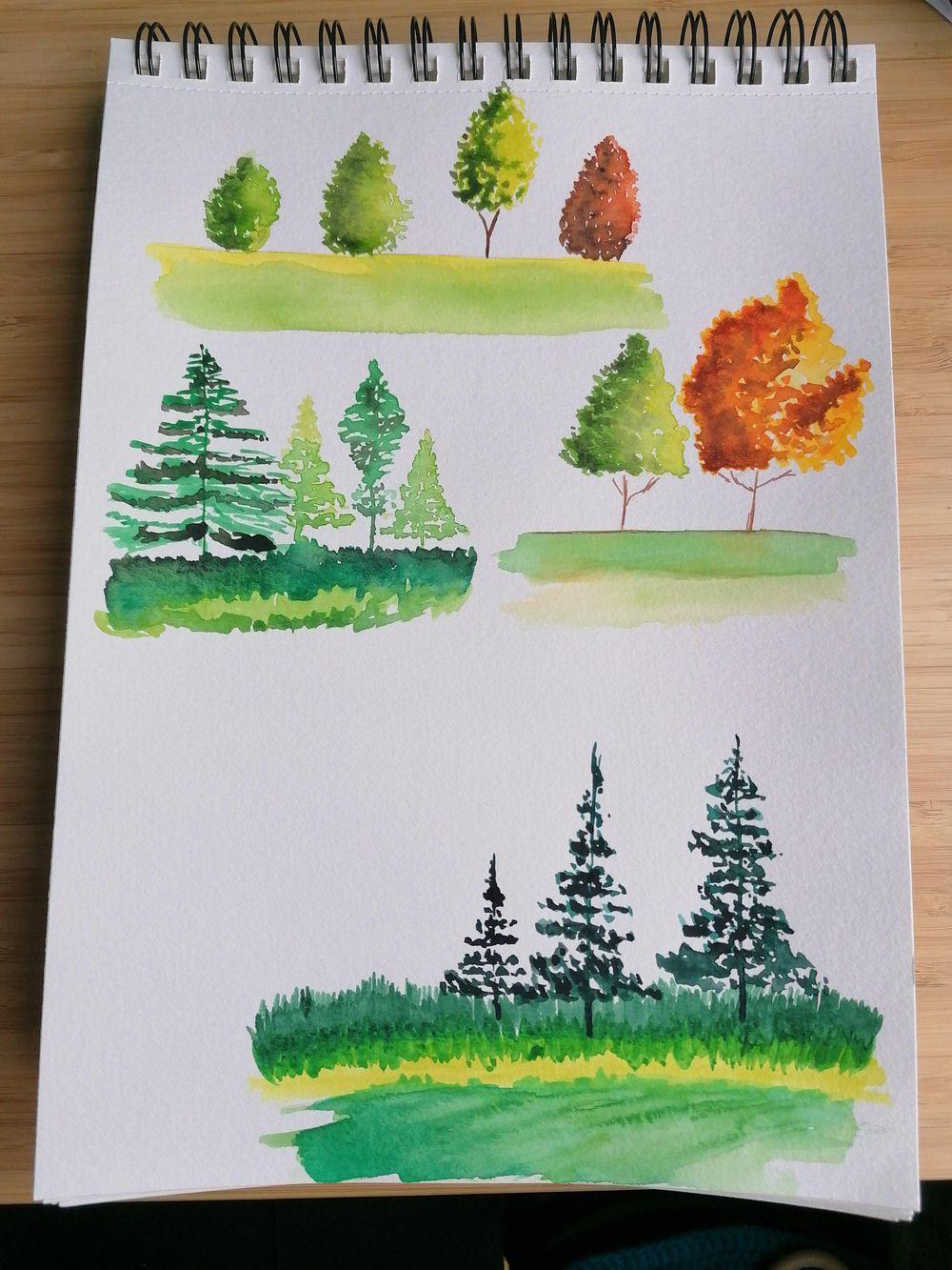 Watercolor landscape - image 2 - student project