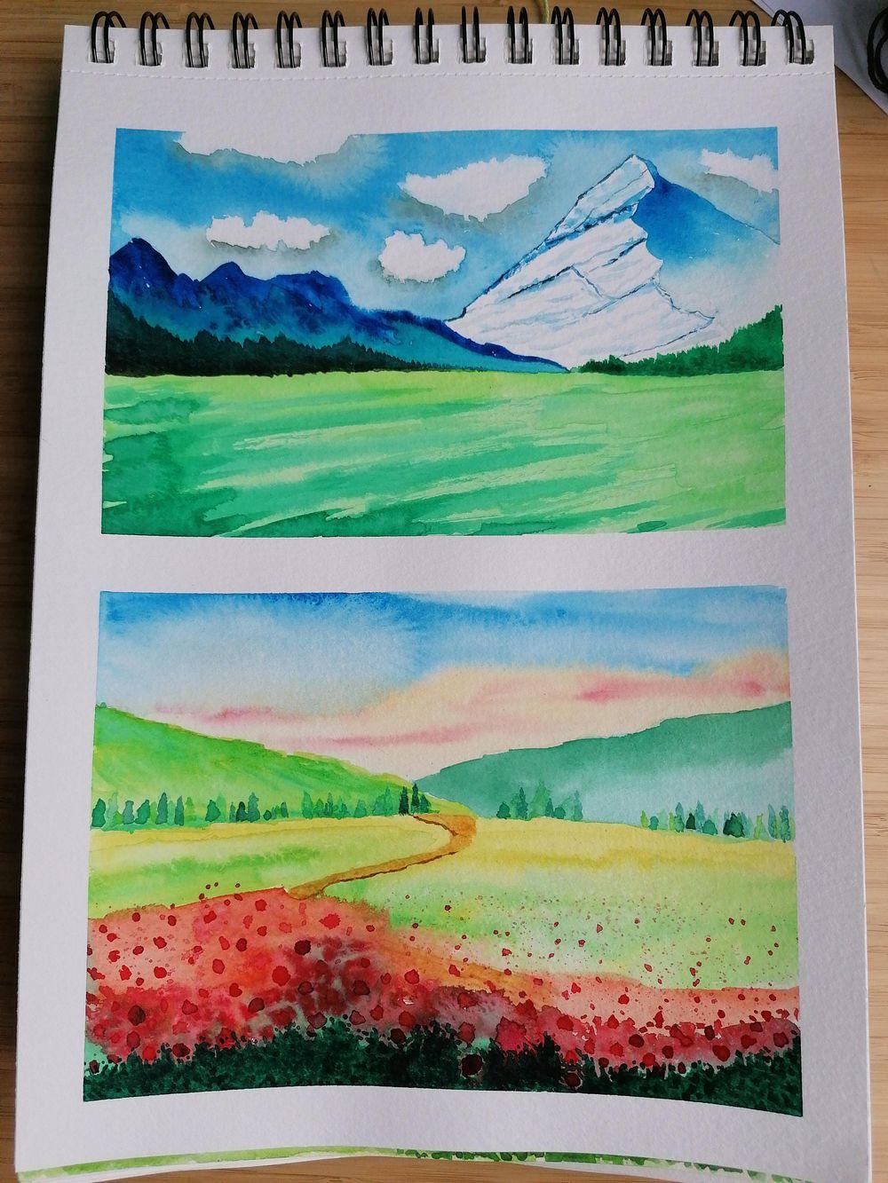 Watercolor landscape - image 5 - student project