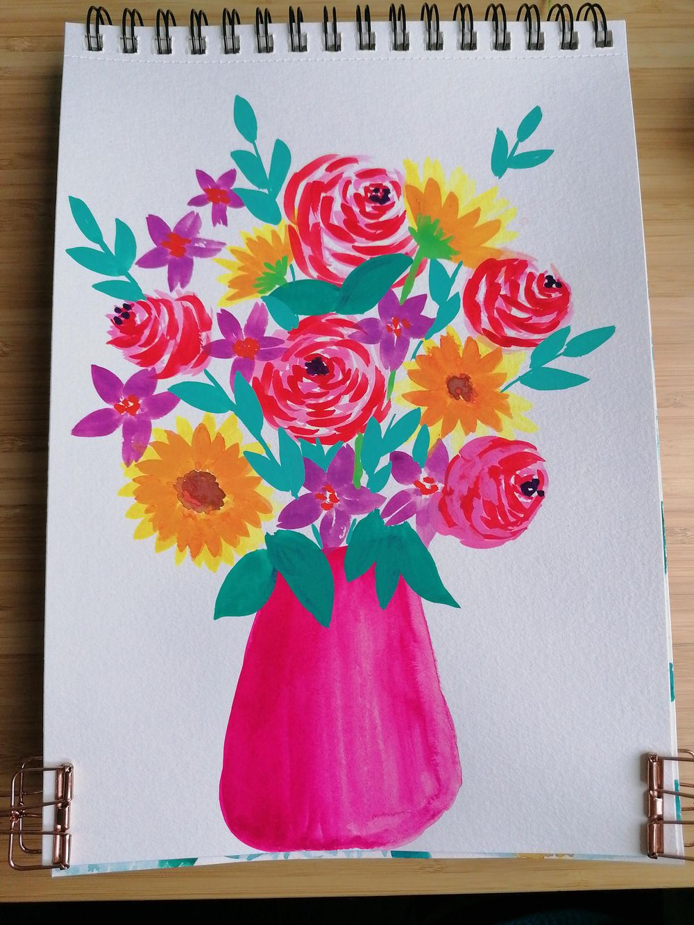 Flower bouquet with gouache - image 2 - student project