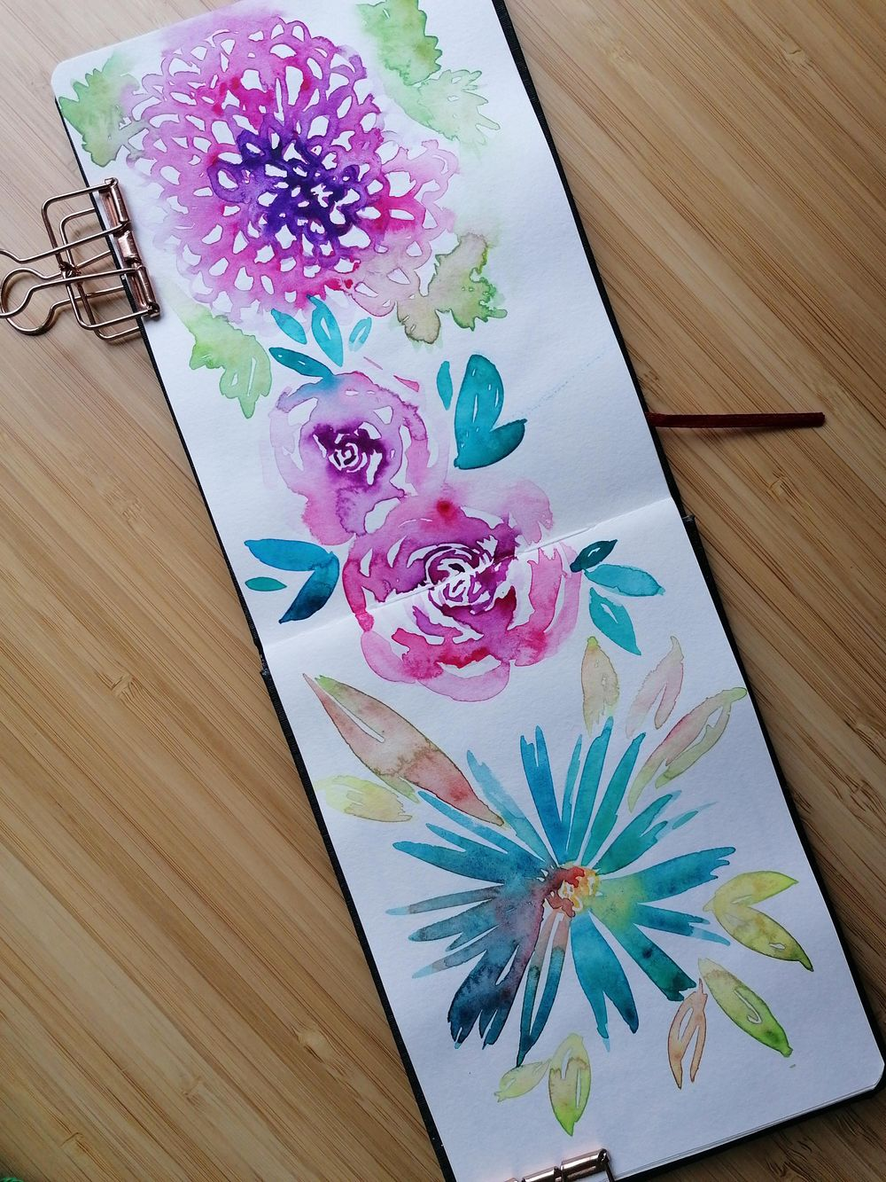 Loose watercolor florals, flowers & butterflies - image 2 - student project