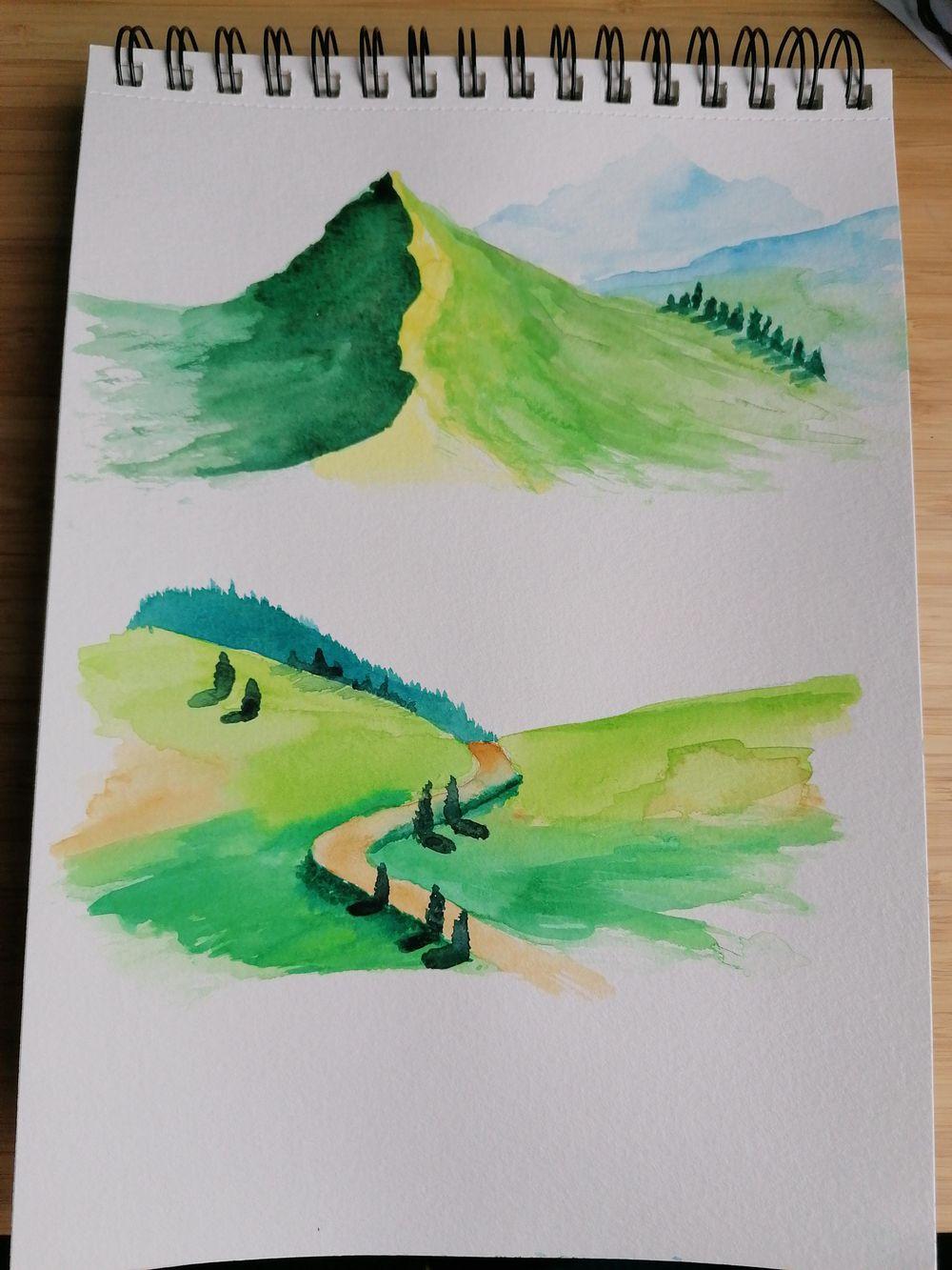 Watercolor landscape - image 4 - student project