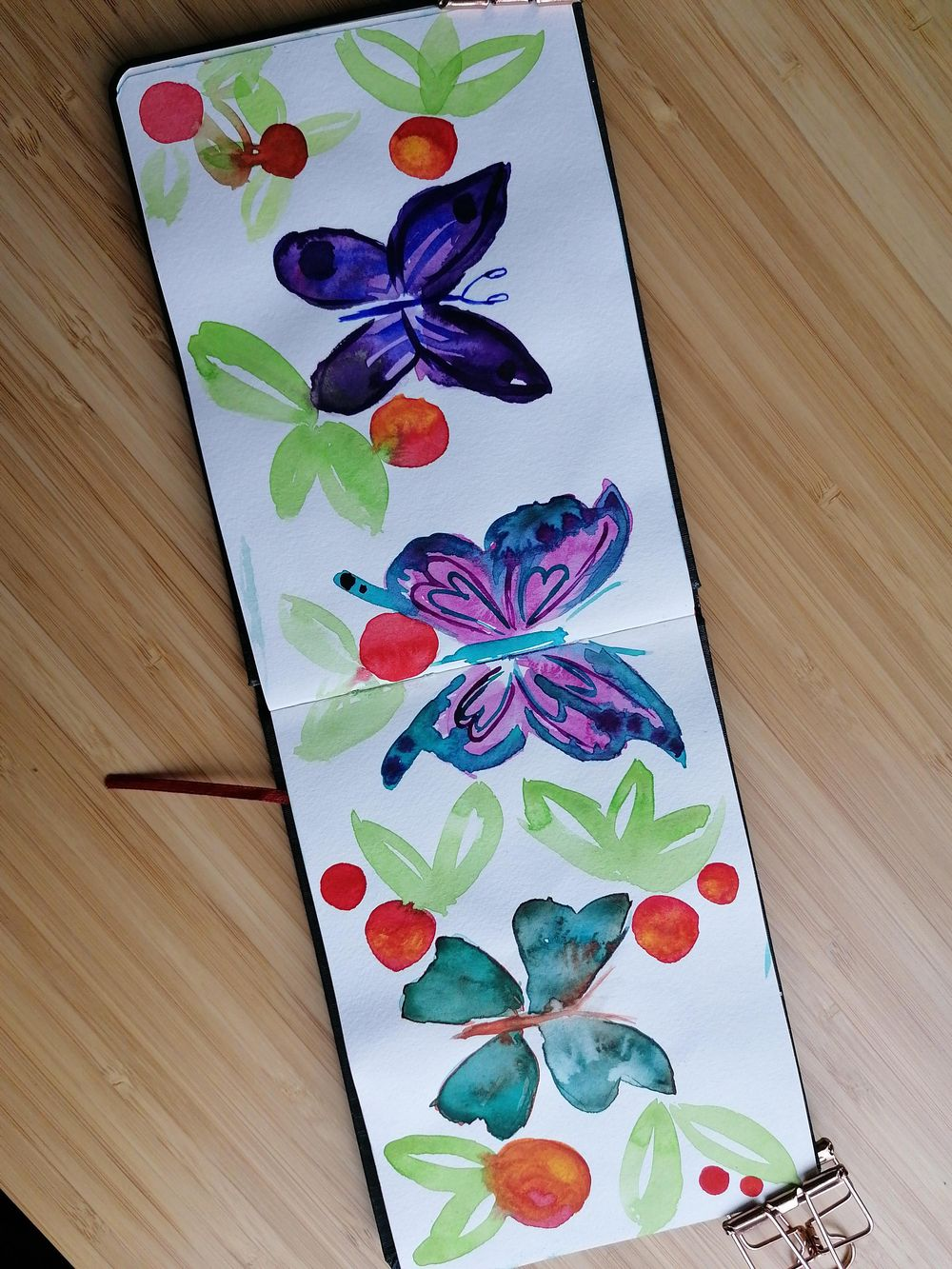 Loose watercolor florals, flowers & butterflies - image 3 - student project