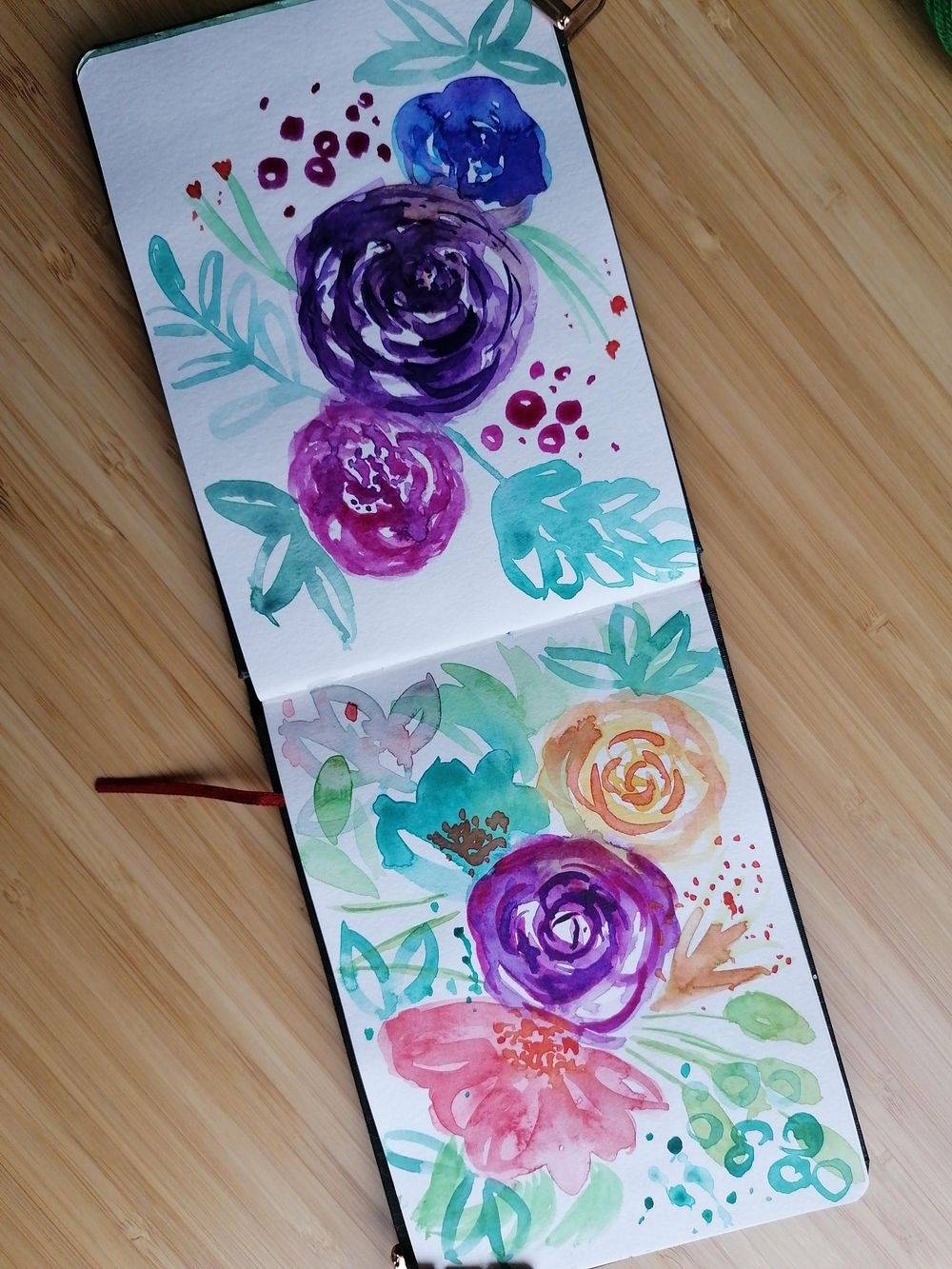 Loose watercolor florals, flowers & butterflies - image 4 - student project
