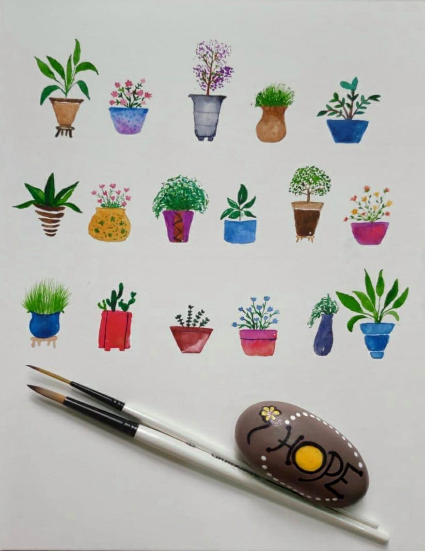Watercolor Plant Pots - image 1 - student project
