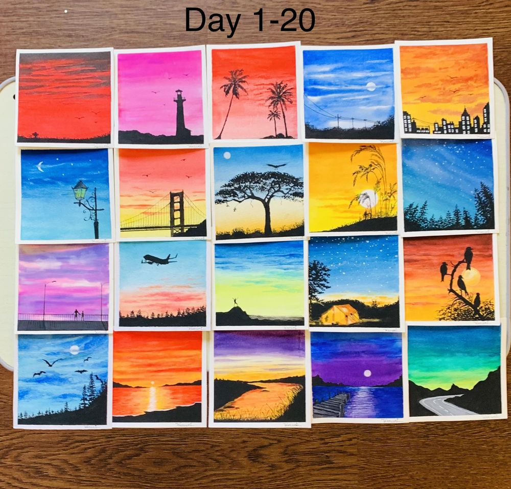 30 days watercolor challenge by Z - image 3 - student project