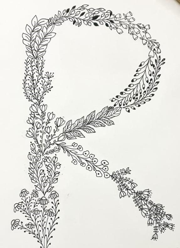 floral lettering - image 1 - student project