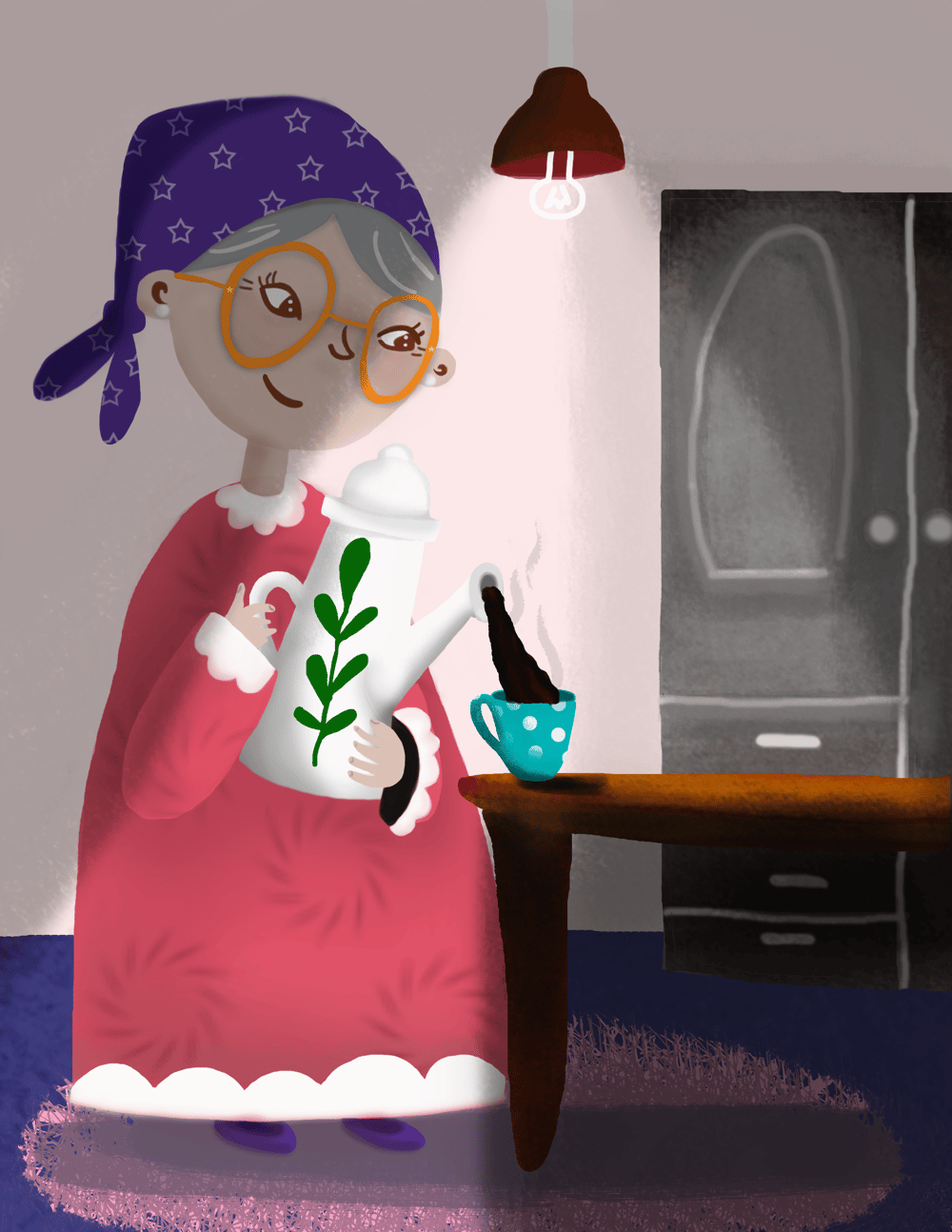 Oma having a cuppa tea - image 1 - student project