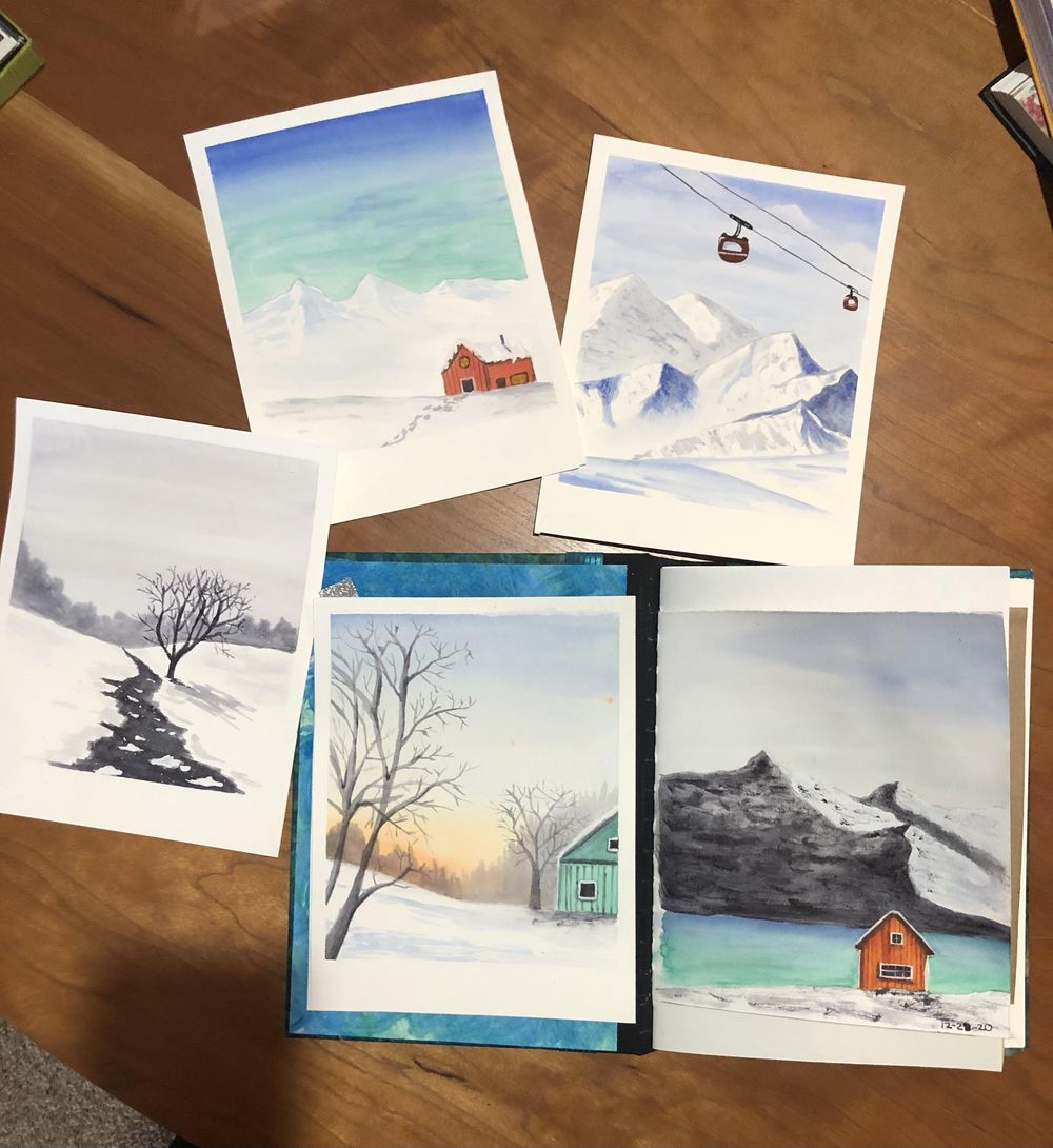 All 5 Let it Snow paintings - image 1 - student project