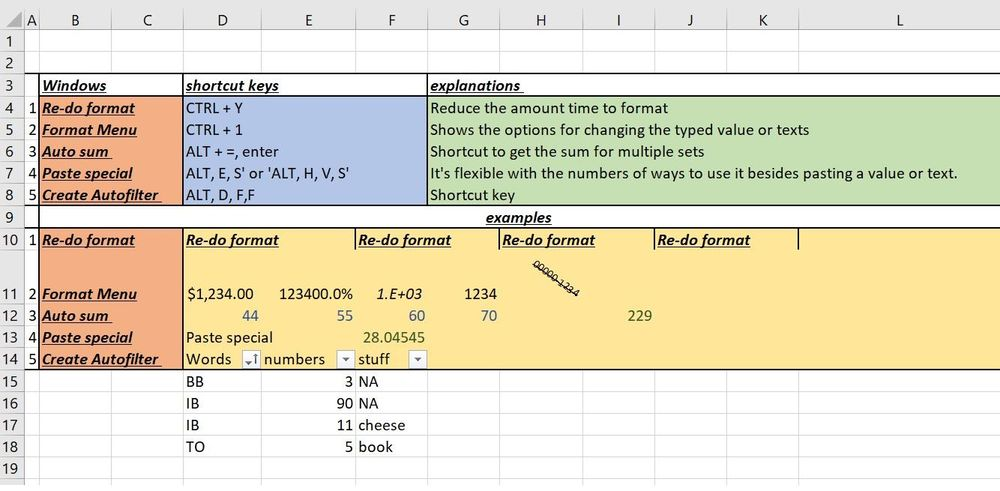 A list of my favorite excel's keyboard shortcuts - image 1 - student project