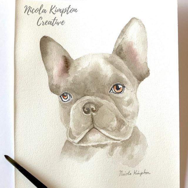 Realistic Watercolor Frenchie - image 1 - student project