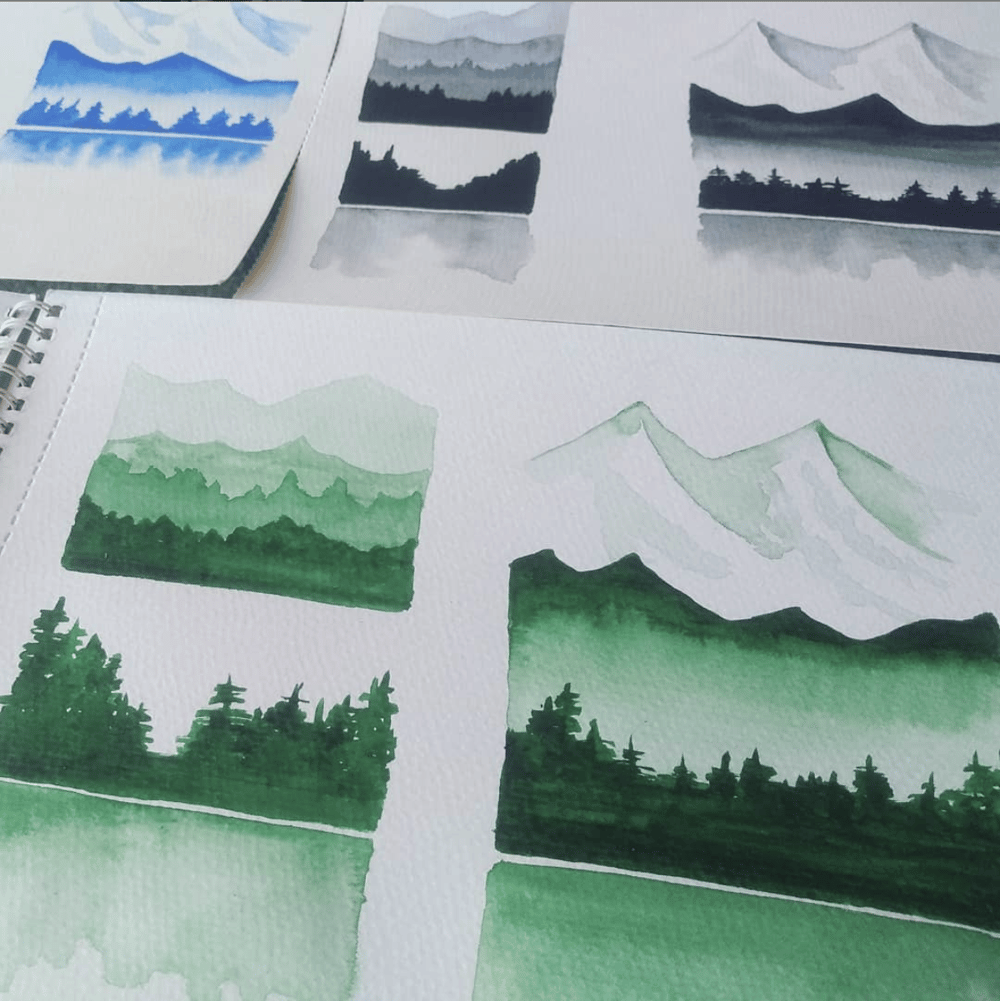monochromatic watercolour swatches - image 1 - student project