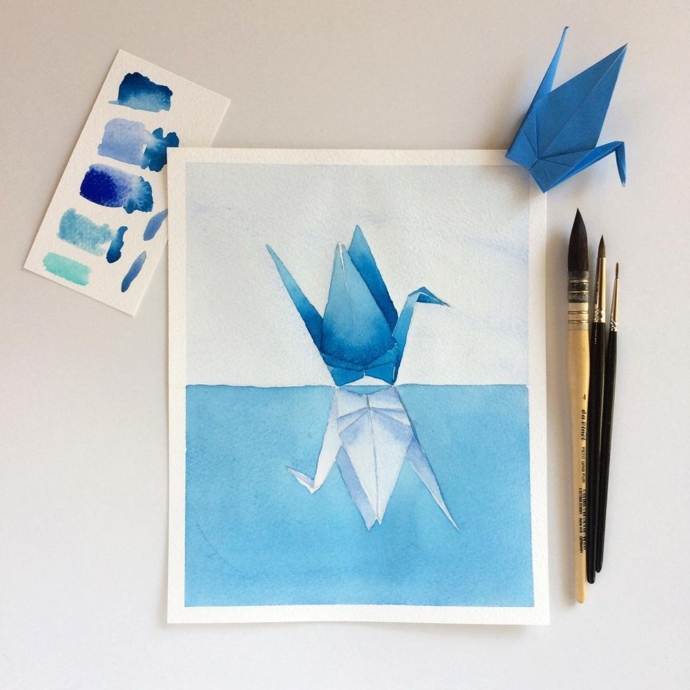 Blue origami cranes - image 1 - student project