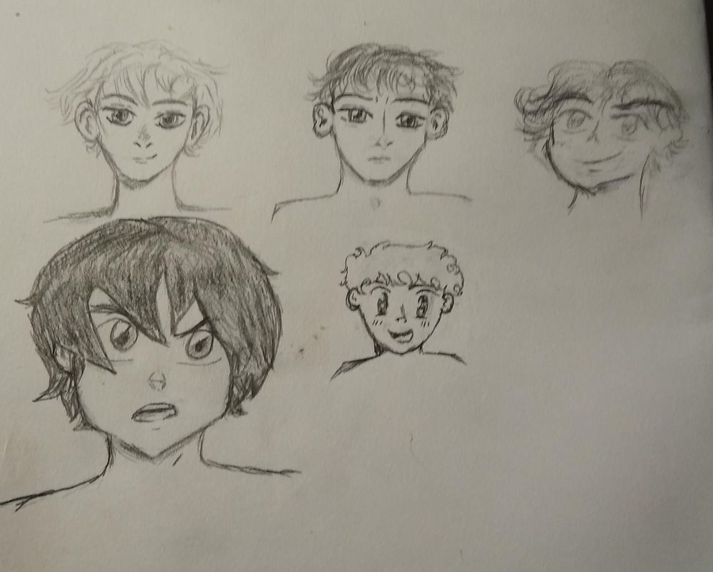Anime Boys Profile Sketches - image 2 - student project