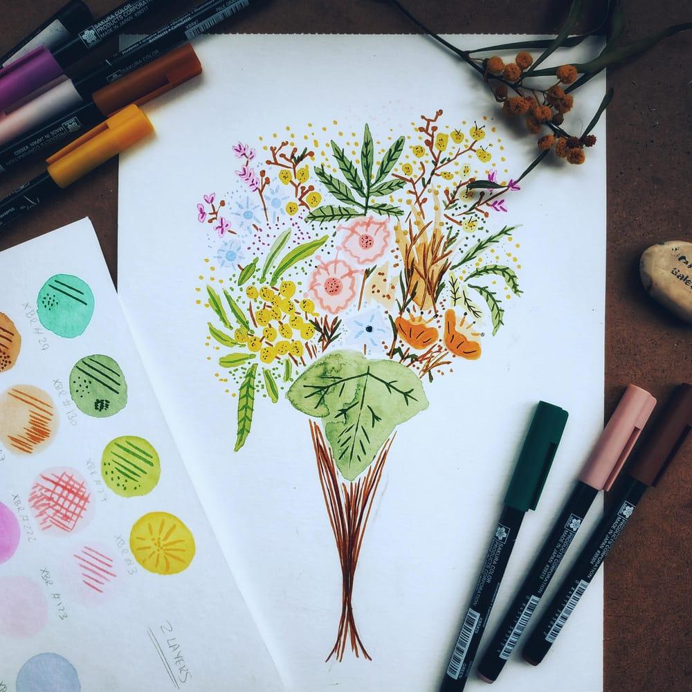Brush Pen Florals Bouquet - image 5 - student project
