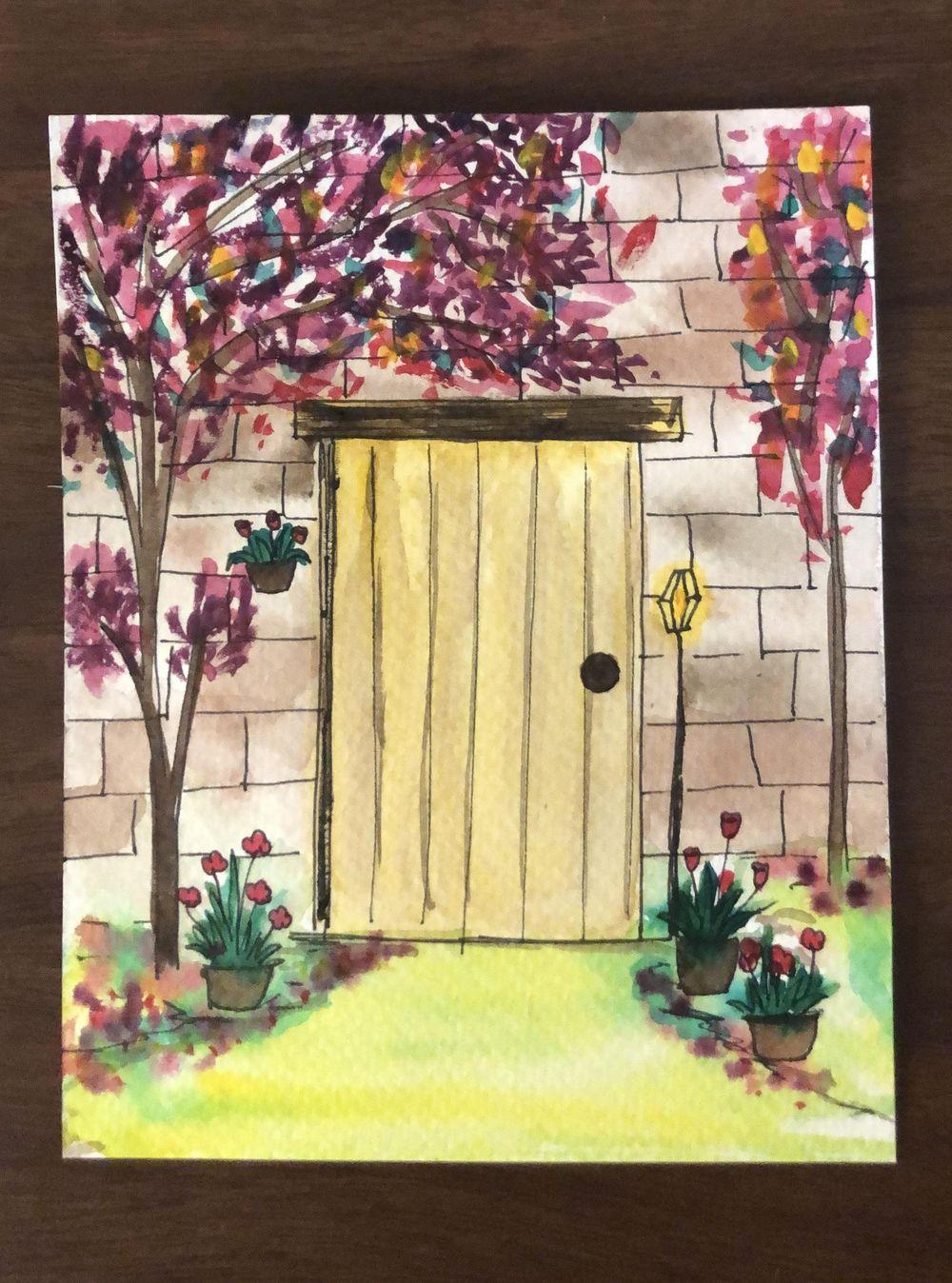 Watercolour door illustrations - image 1 - student project
