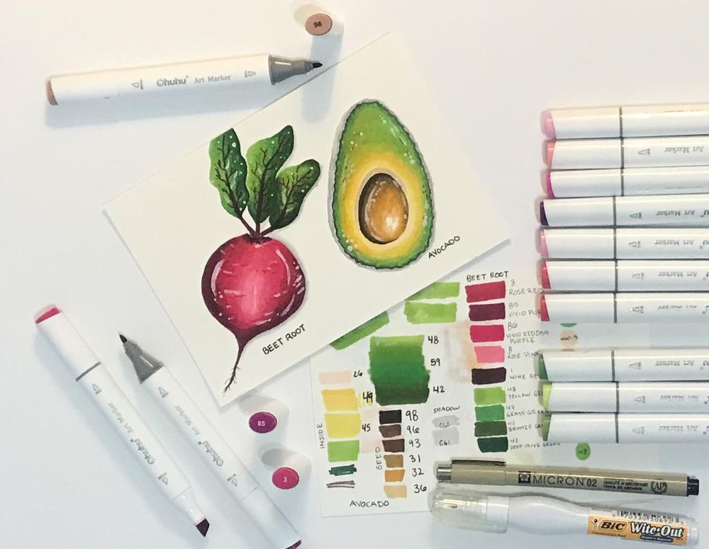 Avocado & Beet Root Ohuhu Markers - image 1 - student project
