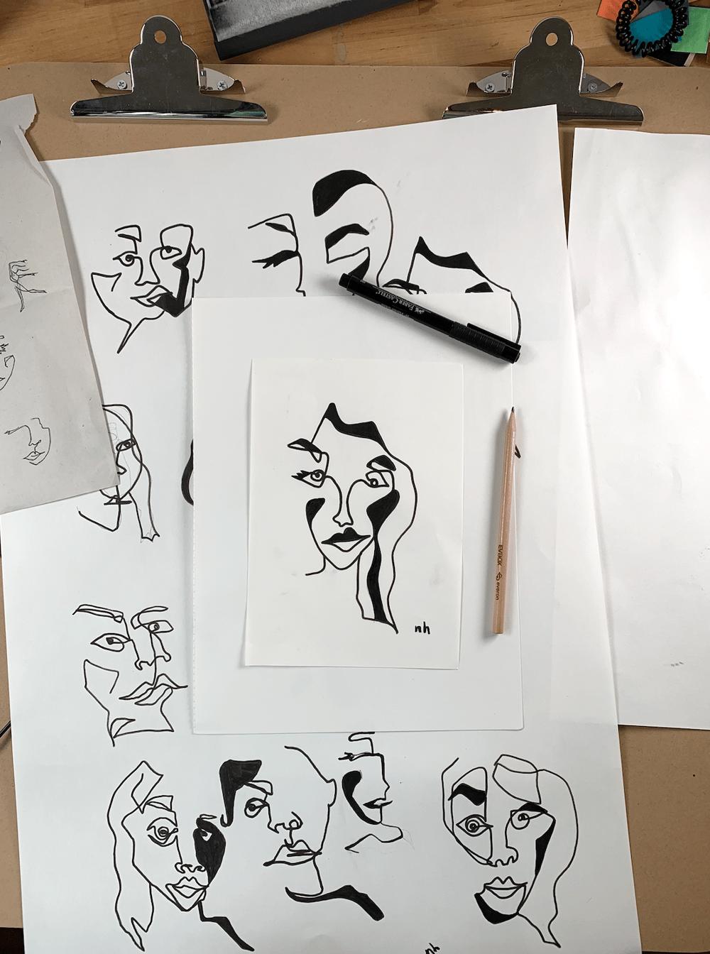 Graphic contour self portraits - image 2 - student project