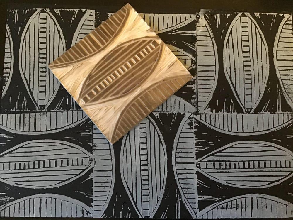 Lino print patterns - image 2 - student project