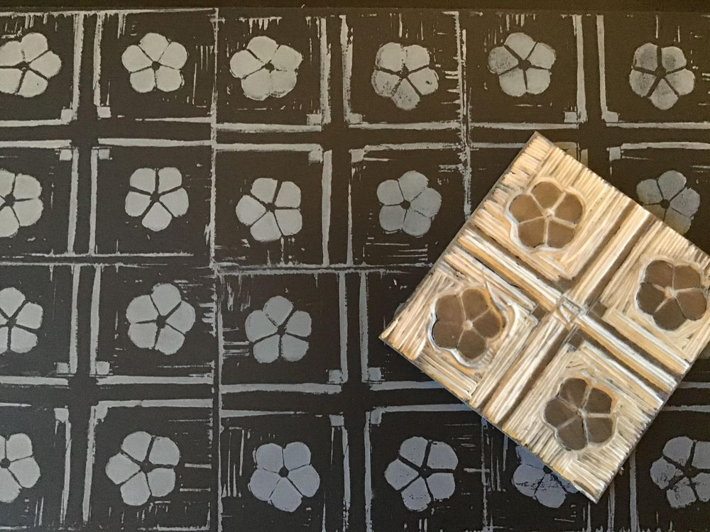 Lino print patterns - image 3 - student project
