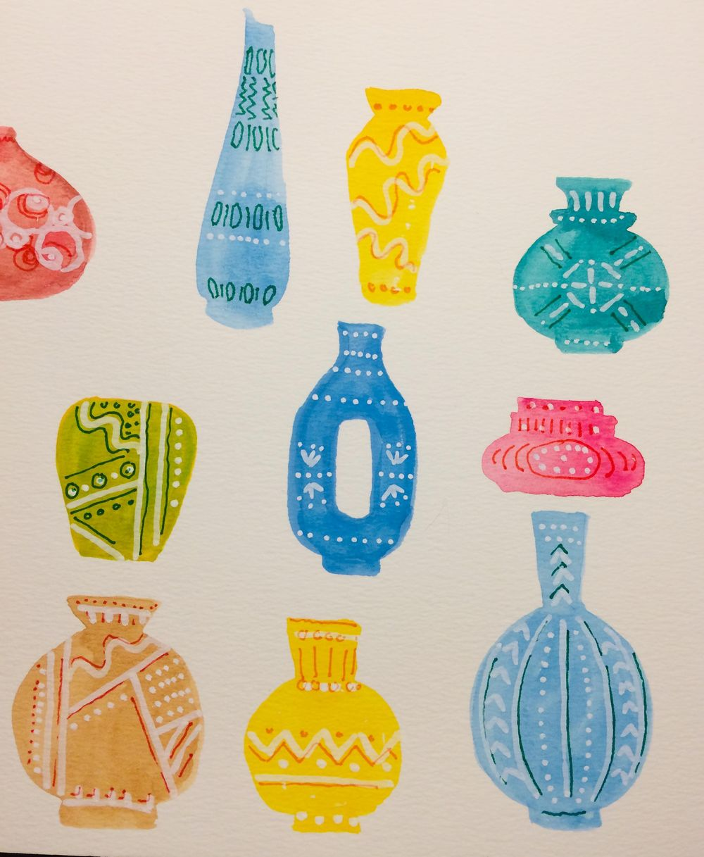 Vases with watercolour and pen - image 2 - student project