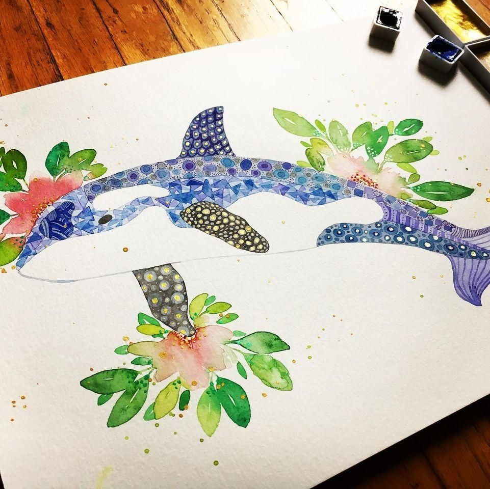 Watercolour Texture—Orca - image 1 - student project