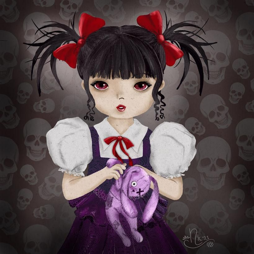 little snowgirl and little gothgirl - image 1 - student project