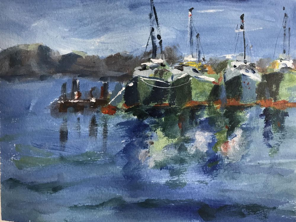 Boats in acrylic - image 1 - student project