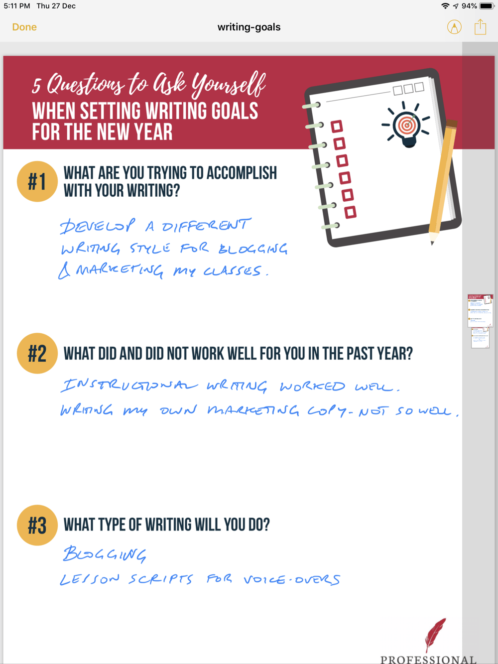 Initial Goal Setting - image 1 - student project