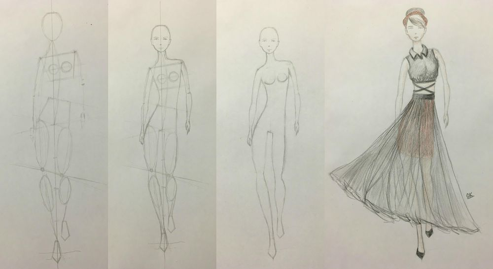 Fashion illustration (traditional tools) - 2 designs finished - image 5 - student project