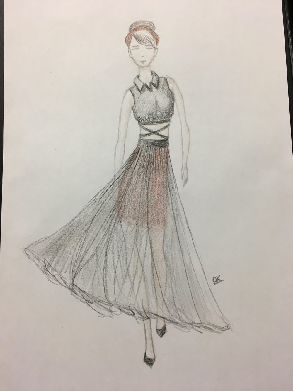 Fashion illustration (traditional tools) - 2 designs finished - image 6 - student project