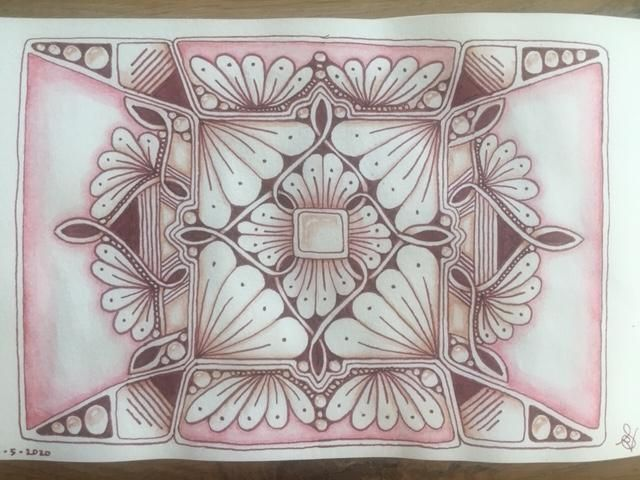 Brown mandalas with zentangle patterns - image 3 - student project