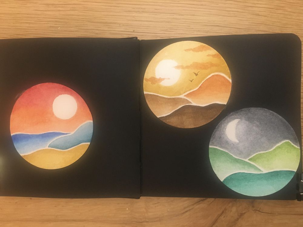 Watercolour abstract landscapes - image 1 - student project